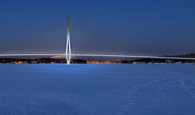 Foto: Kronbergsbron; Helsingfors stad, WSP Finland, Knights Architects