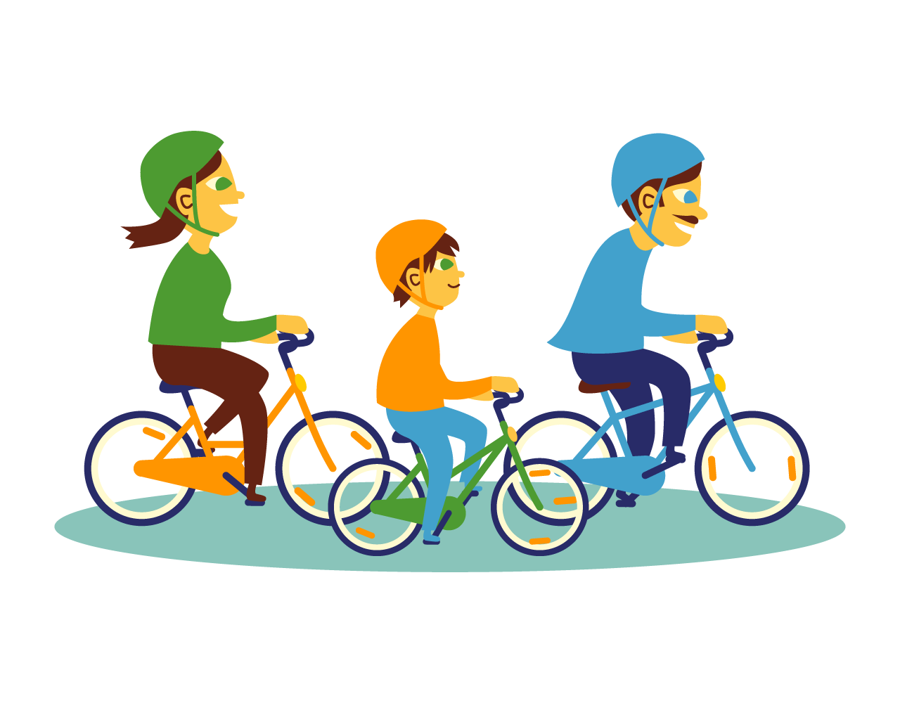 A family is riding bike together.