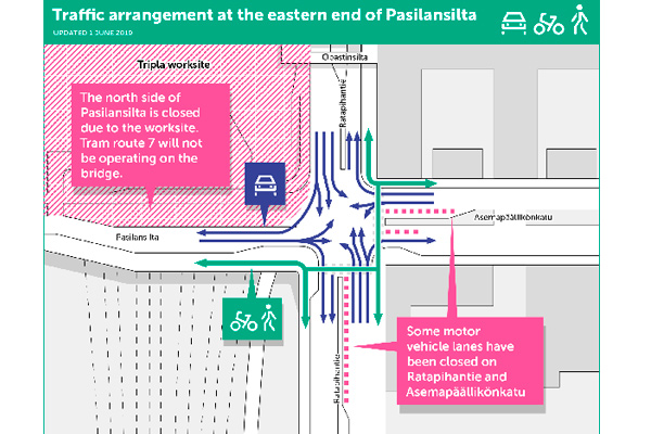 Traffic arrangements at Pasilansilta worksite.